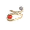 Coral Diamond Ring Vintage 18k Yellow Gold Estate Fine Jewelry Wide Band Sz 7.25