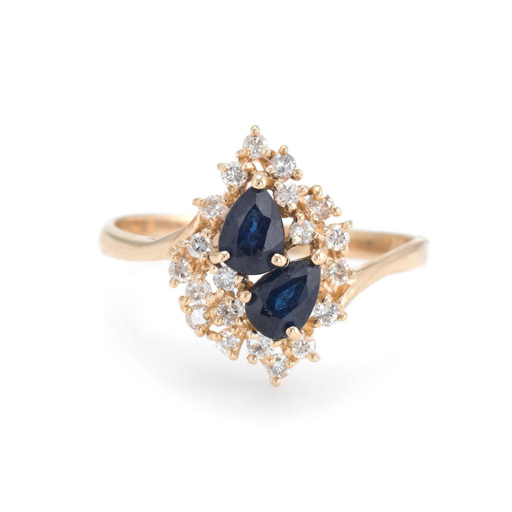 Sapphire Diamond Cluster Ring Vintage 14k Yellow Gold Estate Fine Jewelry Sz 9.5