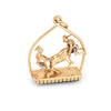 Vintage Matador Bull Fighting Charm 18k Yellow Gold Chrysoprase Estate Jewelry