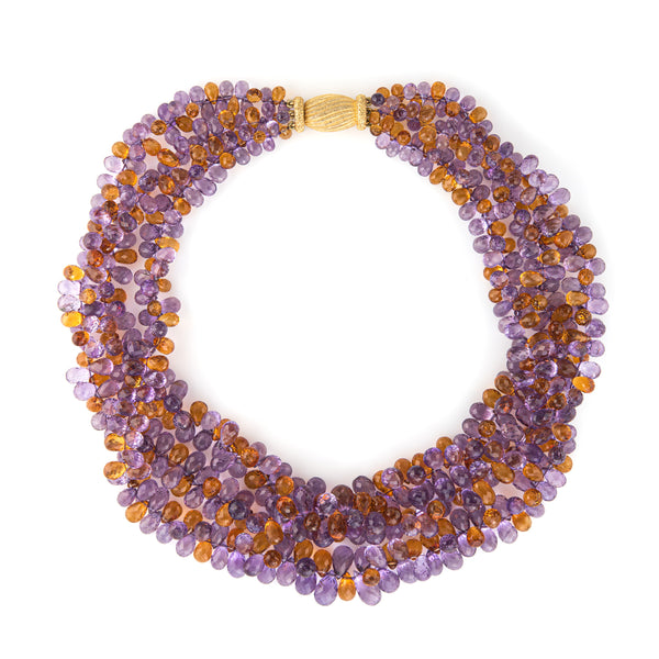 Gianmaria Buccellati Torsade Necklace Amethyst Citrine 18k Gold Gemstone