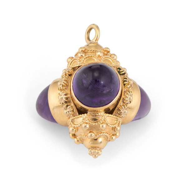 Etruscan Style Charm Pendant Vintage 18k Yellow Gold Amethyst 3 Sided Jewelry