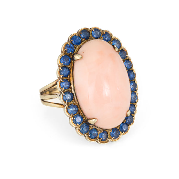 Angel Skin Coral Sapphire Ring Vintage 14k Yellow Gold Oval Cocktail Jewelry 7