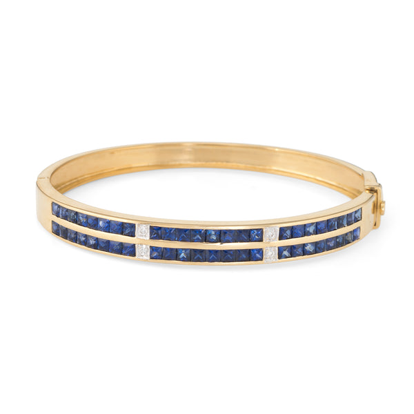 Sapphire Diamond Bangle Bracelet Vintage 18k Yellow Gold Estate Fine Jewelry