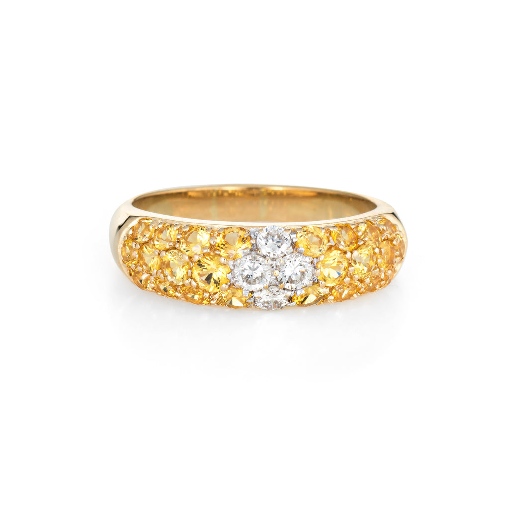 Yellow Sapphire Diamond Band Estate 18k Gold Stacking Ring Fine Vintage Jewelry