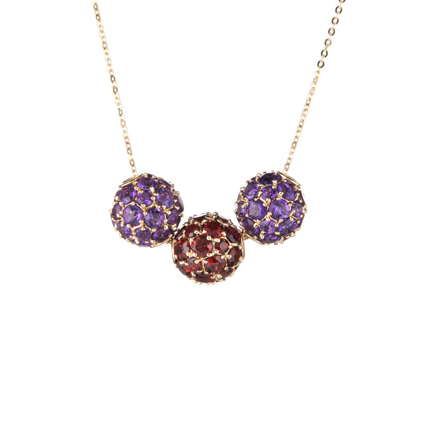 Garnet Amethyst 3 Orb Slide Necklace 14k Yellow Gold Ball Estate Jewelry 18