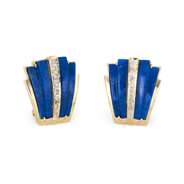 Lapis Lazuli Diamond Earrings Vintage 14k Yellow Gold Estate Fine Jewelry
