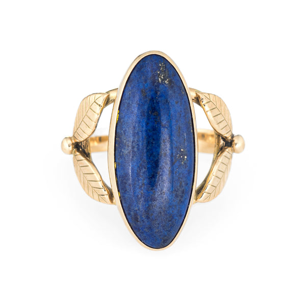 Lapis Lazuli Ring Vintage 14k Gold Cocktail Leaf Design Large Oval Jewelry