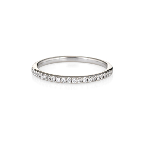 Estate Micro Pave Diamond Band 14k White Gold Stacking Ring Jewelry Sz 6 1/2