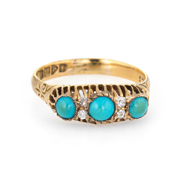 Antique Edwardian Turquoise Diamond Ring Sz 9 18k Yellow Gold Bridge Chester UK