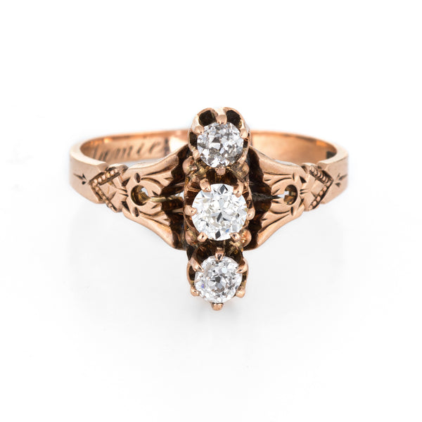 Antique Victorian 3 Diamond Ring Vintage 14k Rose Gold Trilogy Estate Jewelry