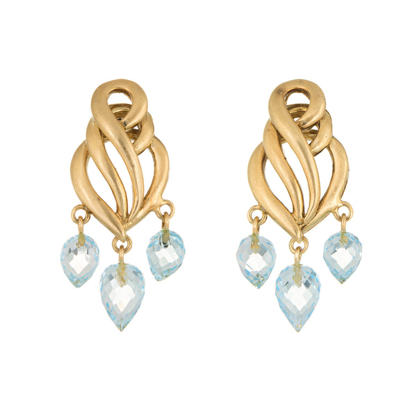 Aquamarine Briolette Drop Earrings Estate 18k Brushed Yellow Gold Fine Jewelry