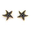 Hidalgo Starfish Earrings Black Enamel 18k Yellow Gold Large Estate Jewelry
