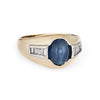 Vintage Natural Sapphire Cabochon Diamond Ring 14k Yellow Gold Mens Jewelry 7