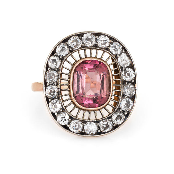 Antique Edwardian Ring Pink Tourmaline Diamond Oval Cocktail 14k Gold Vintage
