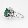 Vintage Emerald Diamond Ring Platinum Ballerina Estate Fine Jewelry Engagement