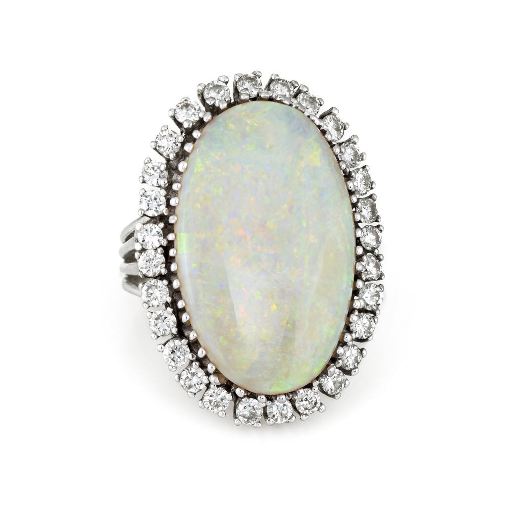 Large Opal Diamond Ring Vintage 14k Gold Big Oval Cocktail Estate Fine Jewelry