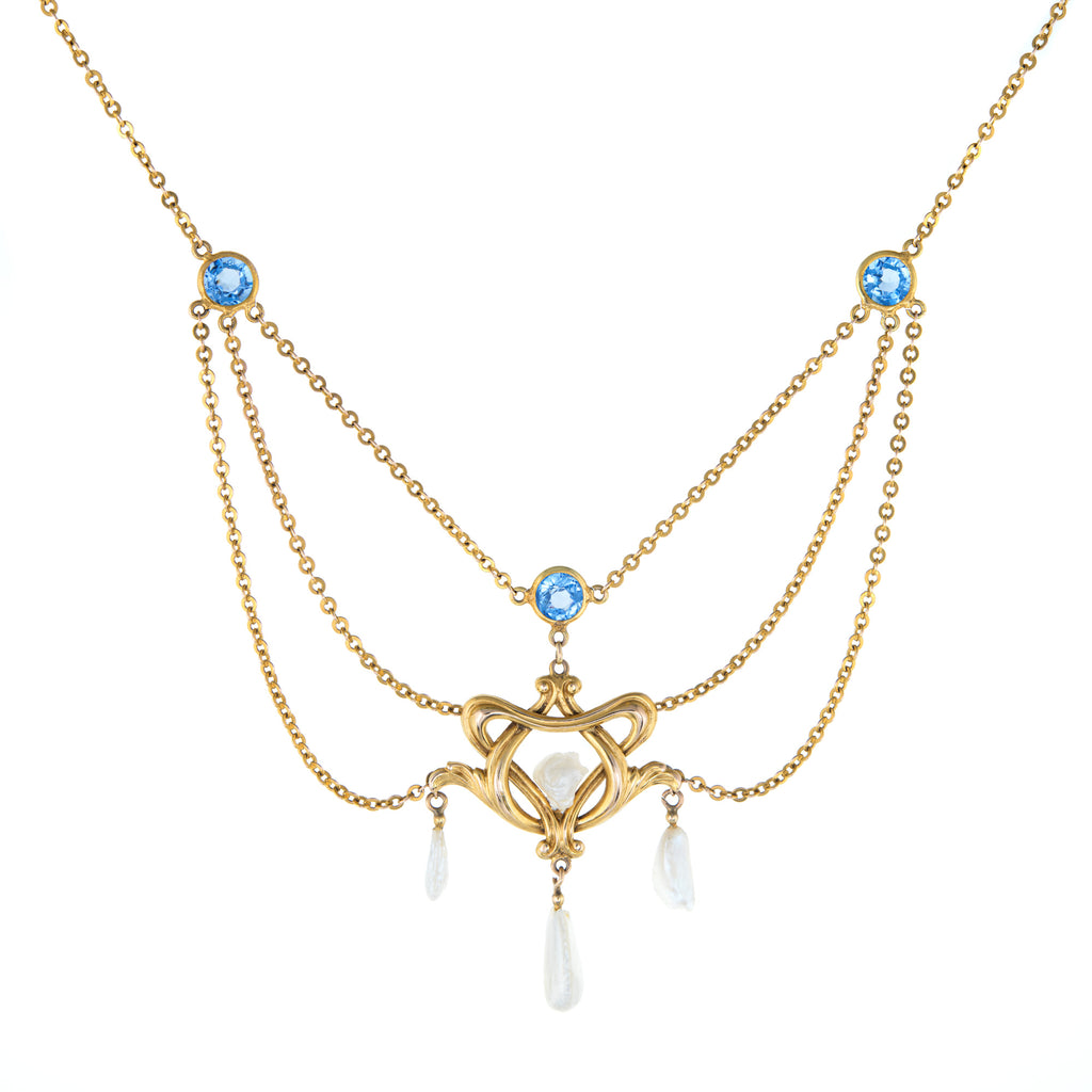 Antique Art Nouveau Drop Necklace Blue Sapphire Pearls 14k Yellow Gold Vintage