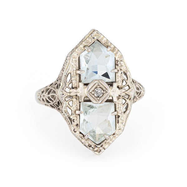 Antique Deco Aquamarine Diamond Ring 14k White Gold Filigree Cocktail Jewelry