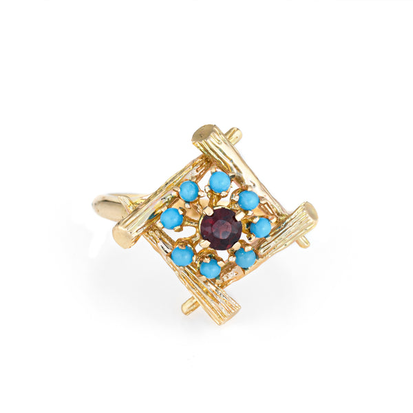 Vintage Bamboo Cocktail Ring Turquoise Garnet 14k Yellow Gold Estate Jewelry