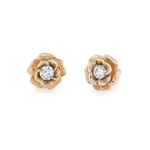 Diamond Stud Earrings Vintage 14k Yellow Gold Rose Flower Jewelry Screw Backs