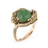 Vintage Double Dragon Ring 14k Yellow Gold Green Jade Estate Fine Jewelry 7.5