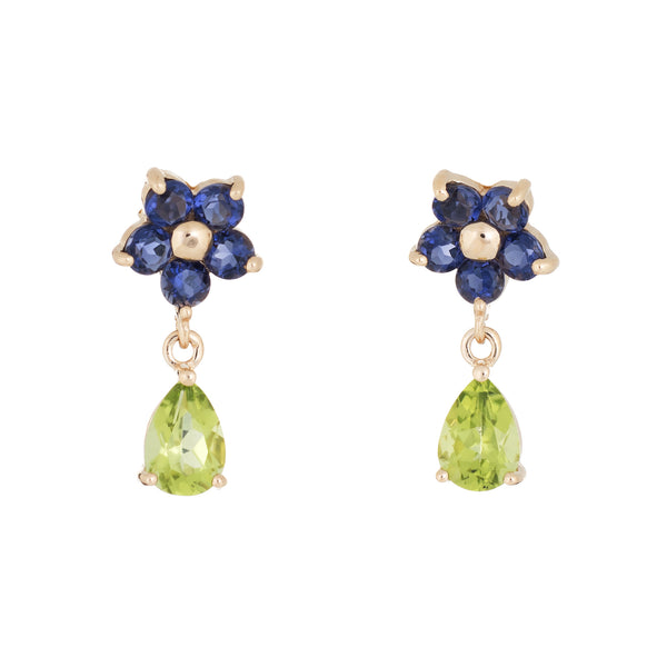 Peridot Tanzanite Drop Earrings Flowers Estate 14k Yellow Gold Fine Jewelry