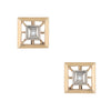 Vintage Diamond Stud Earrings Square 14k Yellow Gold Estate Fine Jewelry
