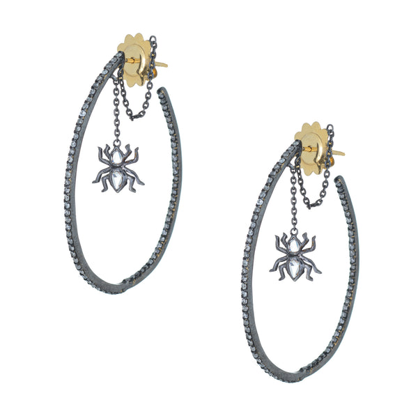 1ct Diamond Spider Earrings Large Hoops Sterling Silver 18k Gold Drops Estate