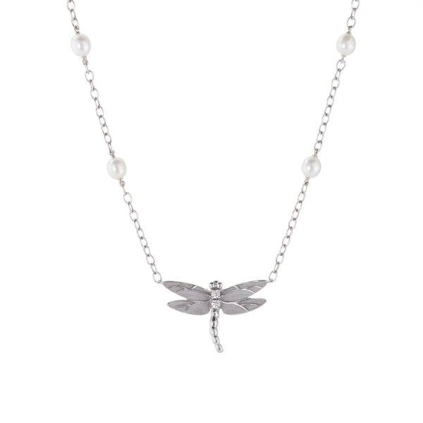 Tiffany & Co Dragonfly Necklace Diamond Pearl Estate 18k White Gold Jewelry