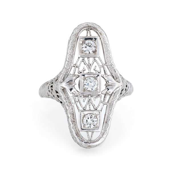 Antique Deco Diamond Filigree Ring 14k White Gold Vintage Fine Jewelry Elongated