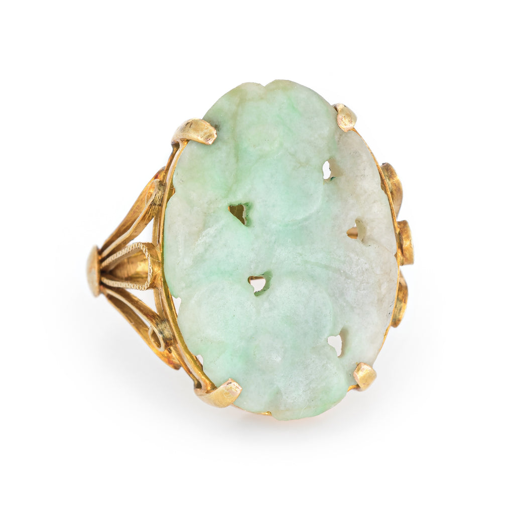 Vintage Carved Jade Flower Ring 14k Yellow Gold Cocktail Estate Fine Jewelry 6