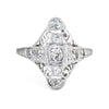 Antique Deco Diamond Ring 18k White Gold Filigree Long Sheild Dinner Jewelry 7.5