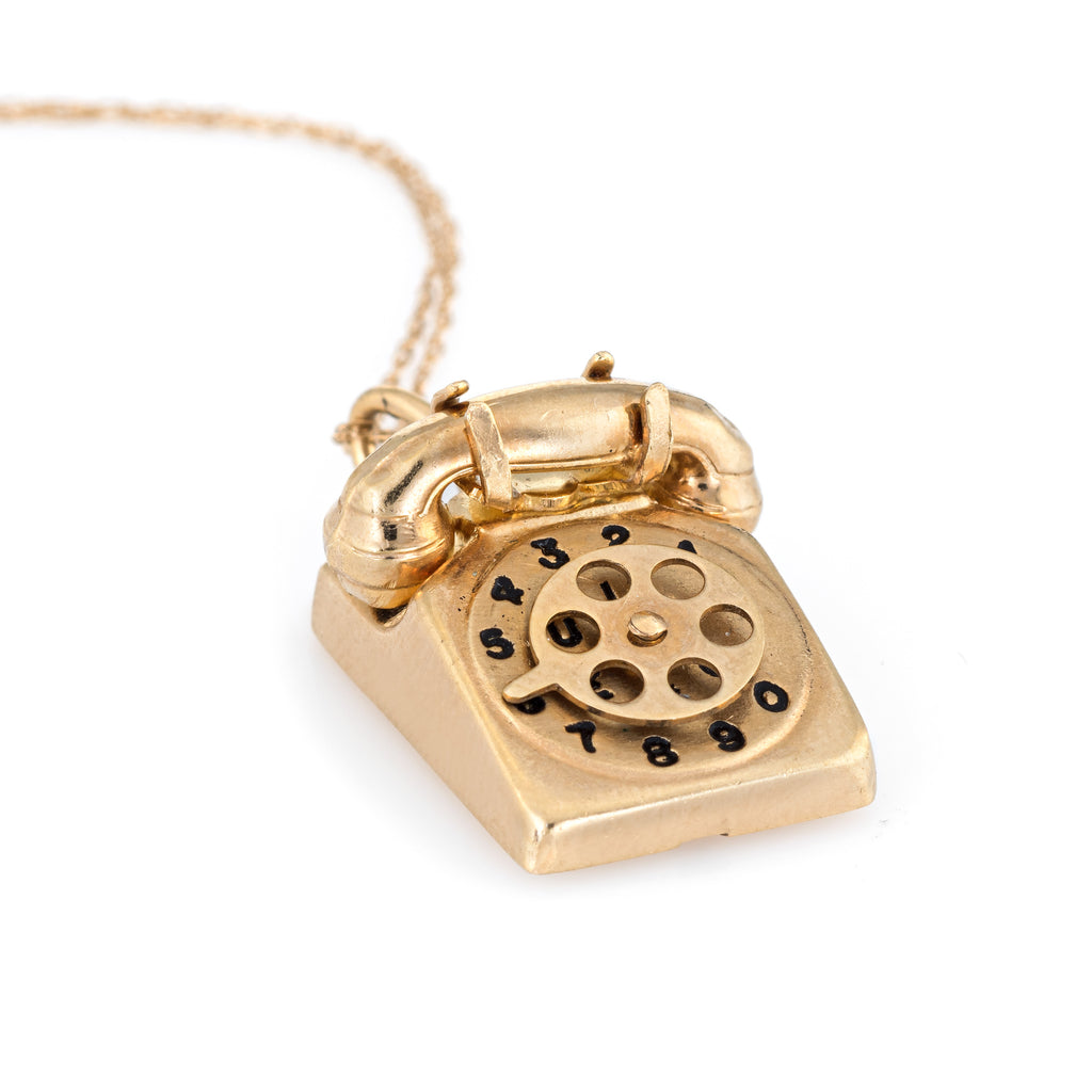 Vintage Telephone Necklace 14k Yellow Gold Charm Old School Phone Jewelry