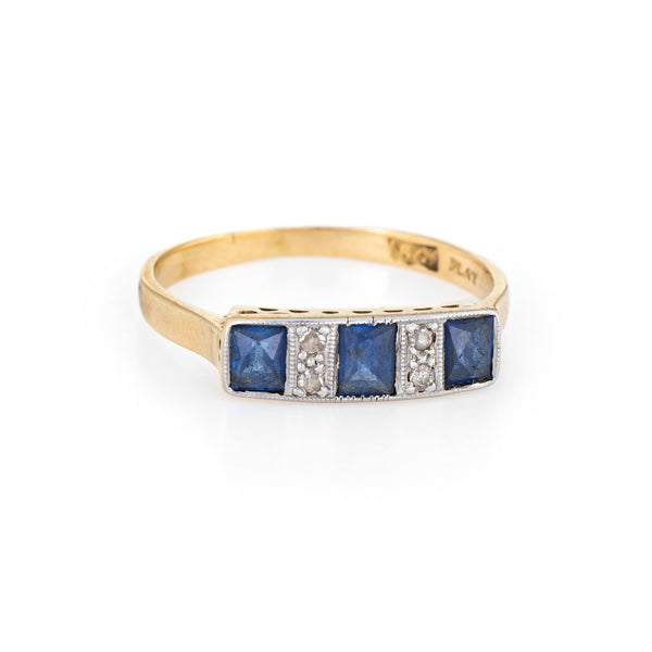 Antique Deco Diamond Sapphire Band 18k Gold Platinum Ring French Cut Vintage