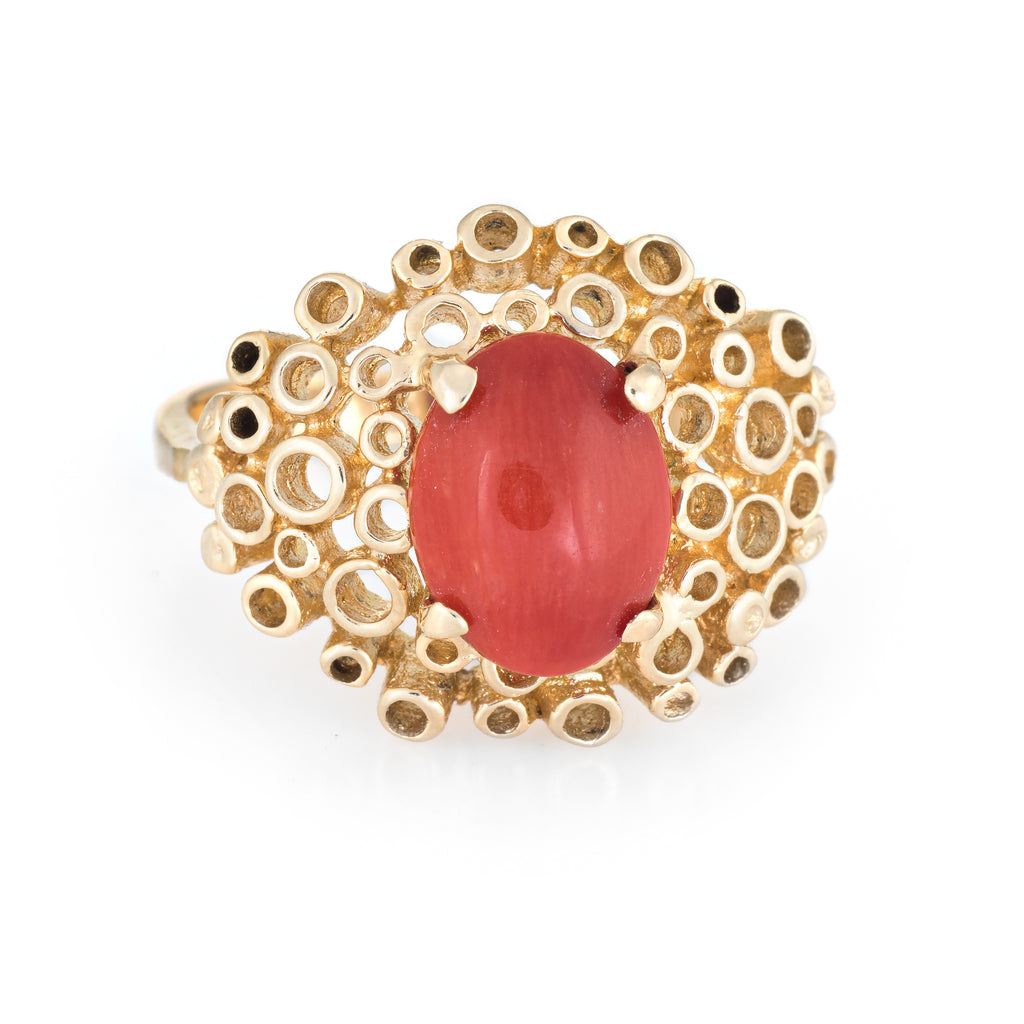 Vintage Mediterranean Red Coral Ring 14k Yellow Gold Cocktail Estate Jewelry
