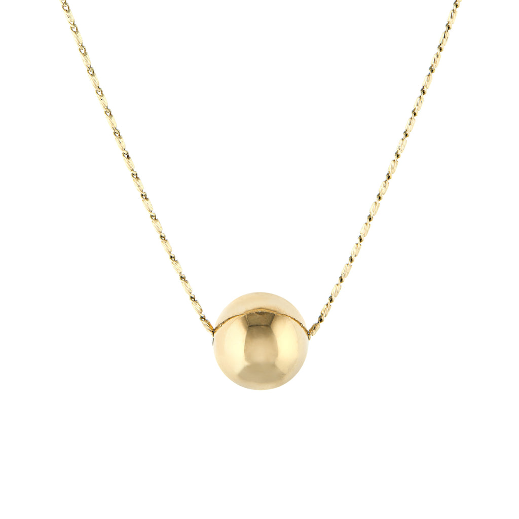 Vintage Orb Necklace 14k Yellow Gold Slide Estate Fine Jewelry Ball Sphere