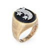 Vintage Moon & Star Diamond Ring Mens 14k Gold Sz 10 1/2 Celestial Jewelry