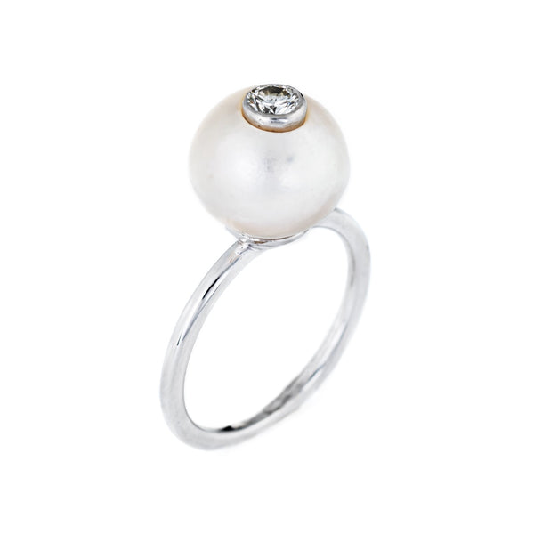 Vintage Diamond Cultured Pearl Ring 14k White Gold Stacking Estate Fine Jewelry