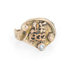 Vintage Art Deco Signet Ring c1932 Diamond 14k Yellow Gold Sz 7.5 Jewelry