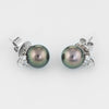Cultured Tahitian Black Pearl Diamond Stud Earrings Estate 18k White Gold