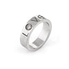Cartier Diamond Love Logo Ring Estate 18k White Gold Sz 54 6 3/4 Fine Jewelry