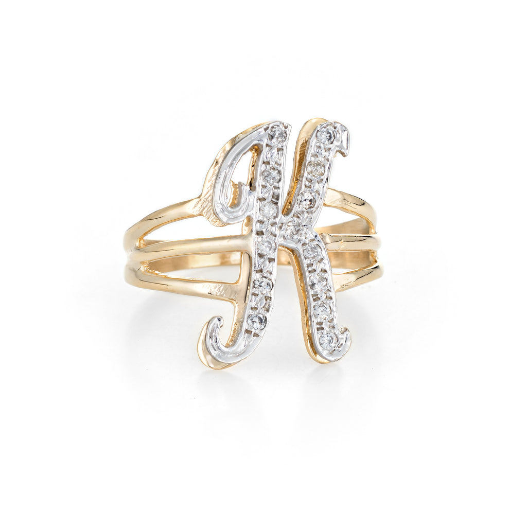 Vintage Letter K Initial Ring 14k Yellow Gold Estate Fine Script Jewelry