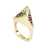 Vintage H Stern 80s Rainbow Gemstone Ring 18k Yellow Gold Geometric Jewelry Sz 6