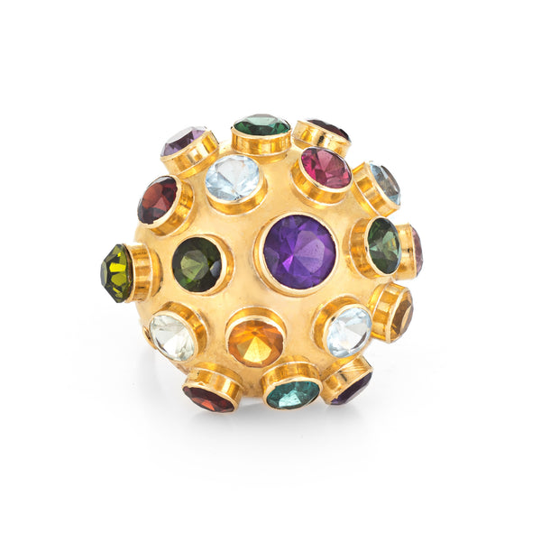 H Stern Sputnik Gemstone Dome Large Vintage Cocktail Ring 18k Yellow Gold 7.5