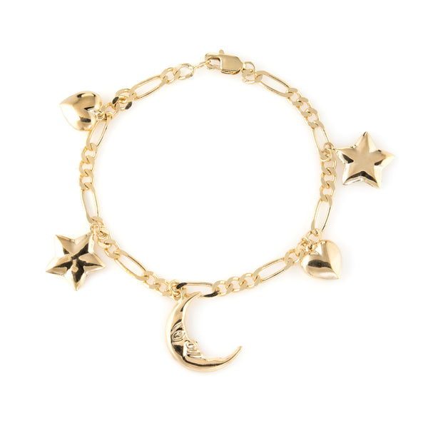 Vintage Charm Bracelet Crescent Moon Star Heart 14k Yellow Gold Estate Jewelry