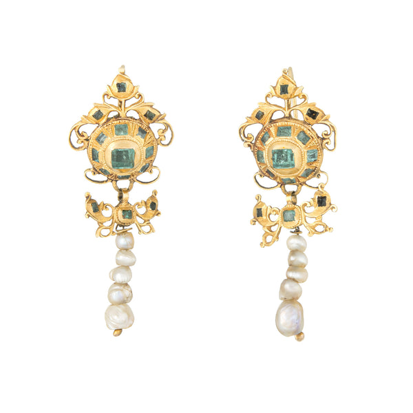 Antique 18th Century Iberian Earrings Emerald Pearl 22k Yellow Gold Spanish Old