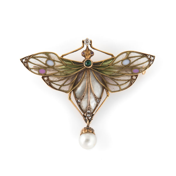 Antique Art Nouveau Dragonfly Plique a Jour Brooch 18k Gold Diamond Pearl Old