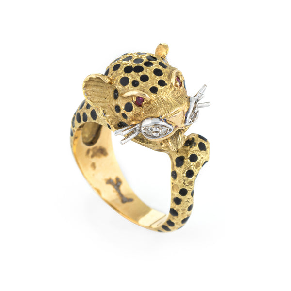 Vintage Leopard Cat Ring 18k Yellow Gold Diamond Ruby Enamel Animal Jewelry 6