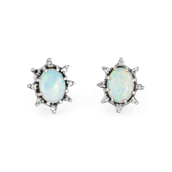 Opal Diamond Stud Earrings Vintage 14k White Gold Estate Fine Jewelry Oval