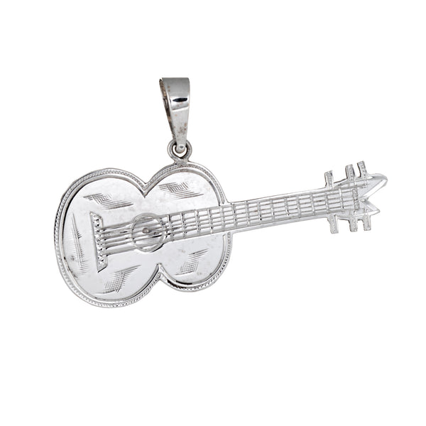 Acoustic Guitar Pendant Vintage 14k White Gold Estate Fine Musical Jewelry